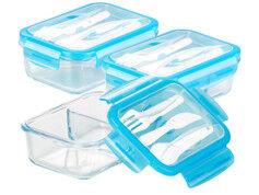 Rosenstein & Söhne 3 boîtes de conservation -20 °Cà 520 °C en verre 2compartiments avec couverts