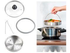 Rosenstein & Söhne Accessoires de cuisson vapeur avec couvercle en verre, panier à étuver et support