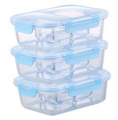 Rosenstein & Söhne 3 boîtes de conservation en verre 1 L avec 3 compartiments et couvercles à clipser