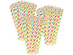 Pearl 300 pailles en papier rayé 4 couleurs
