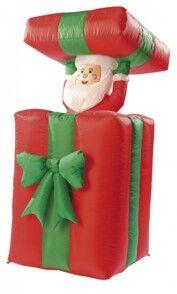 Infactory Cadeau autogonflant avec Père Noël animé, 150 cm