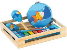 Playtastic Instruments de musique en bois: Xylophone, tambourin et 2 maracas