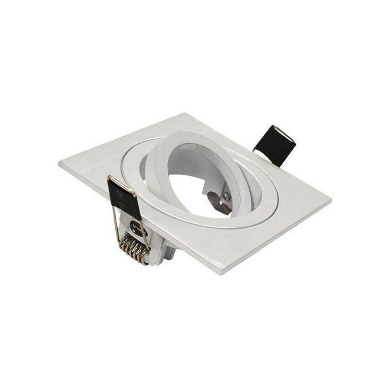 Vision-EL Support Spot LED Orientable et clipsable Carré 88 Finition Blanc