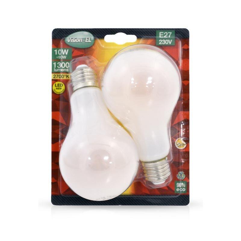 Vision-EL LOT de 2 ampoules 10W LED FILAMENT (éq 90W) Culot E27 - 2700°K - 1300 lumens