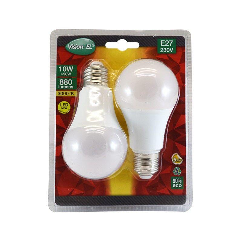 Vision-EL LOT de 2 ampoules 10W LED (éq 90W) Culot E27 - 3000°K - 880 lumens - opale