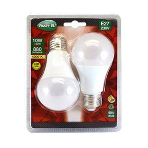 Vision-EL LOT de 2 ampoules 10W LED (éq 90W) Culot E27 - 4000°K - 880 lumens - opale - Publicité