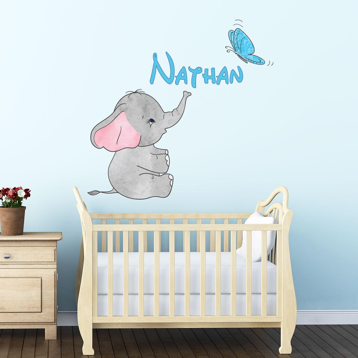 Ambiance-sticker Sticker prénom personnalisable bébé éléphant et papillon