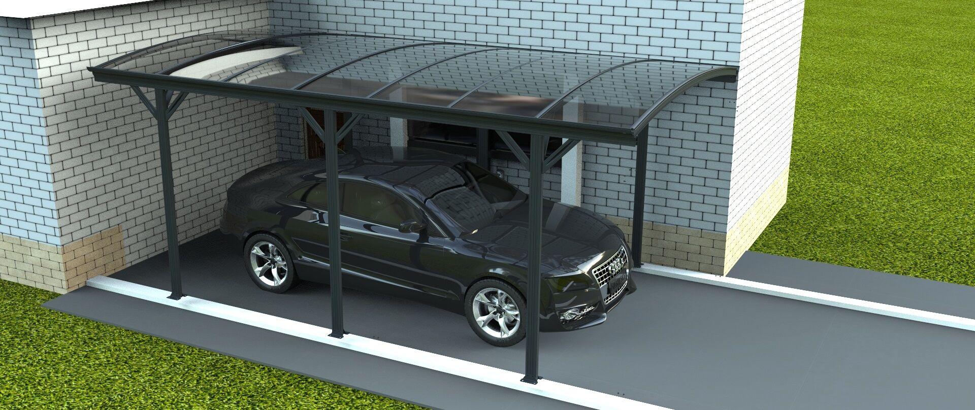 carport en aluminium 15m2, abri voiture 5x3 m anthracite