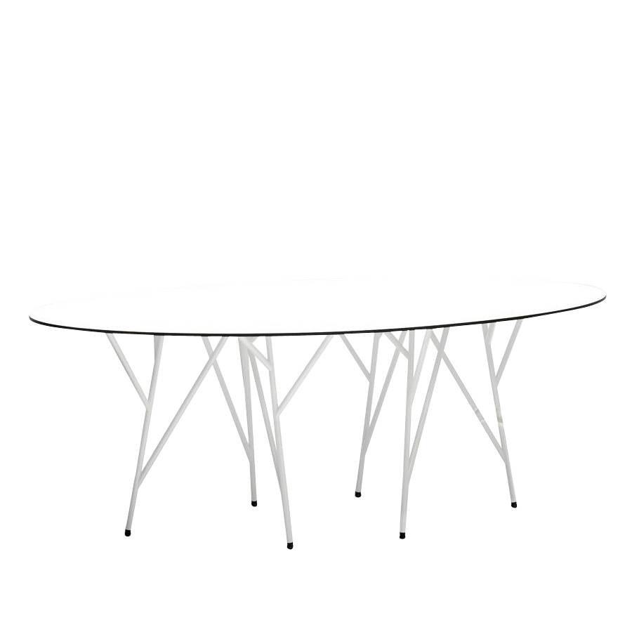 Jan Kurtz Astwerk - Table de jardin - blanc/plateau de table HPL/PxHxP 215x75x110cm/structure acier