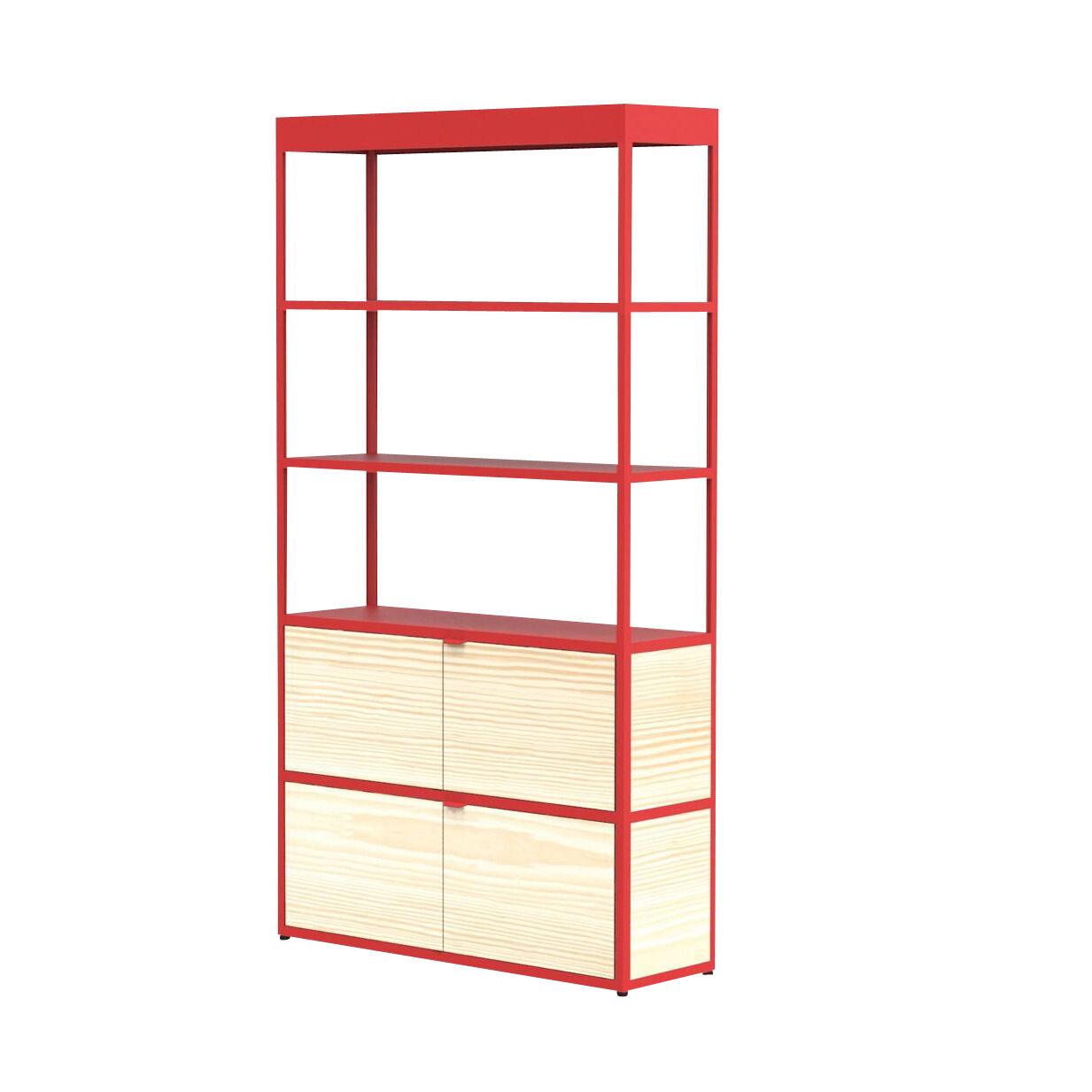 HAY New Order - Etagère/armoire 100x185.5cm - rouge/frêne/laqué/2 portes en bois/4 parois latérales, 2 parois arrière