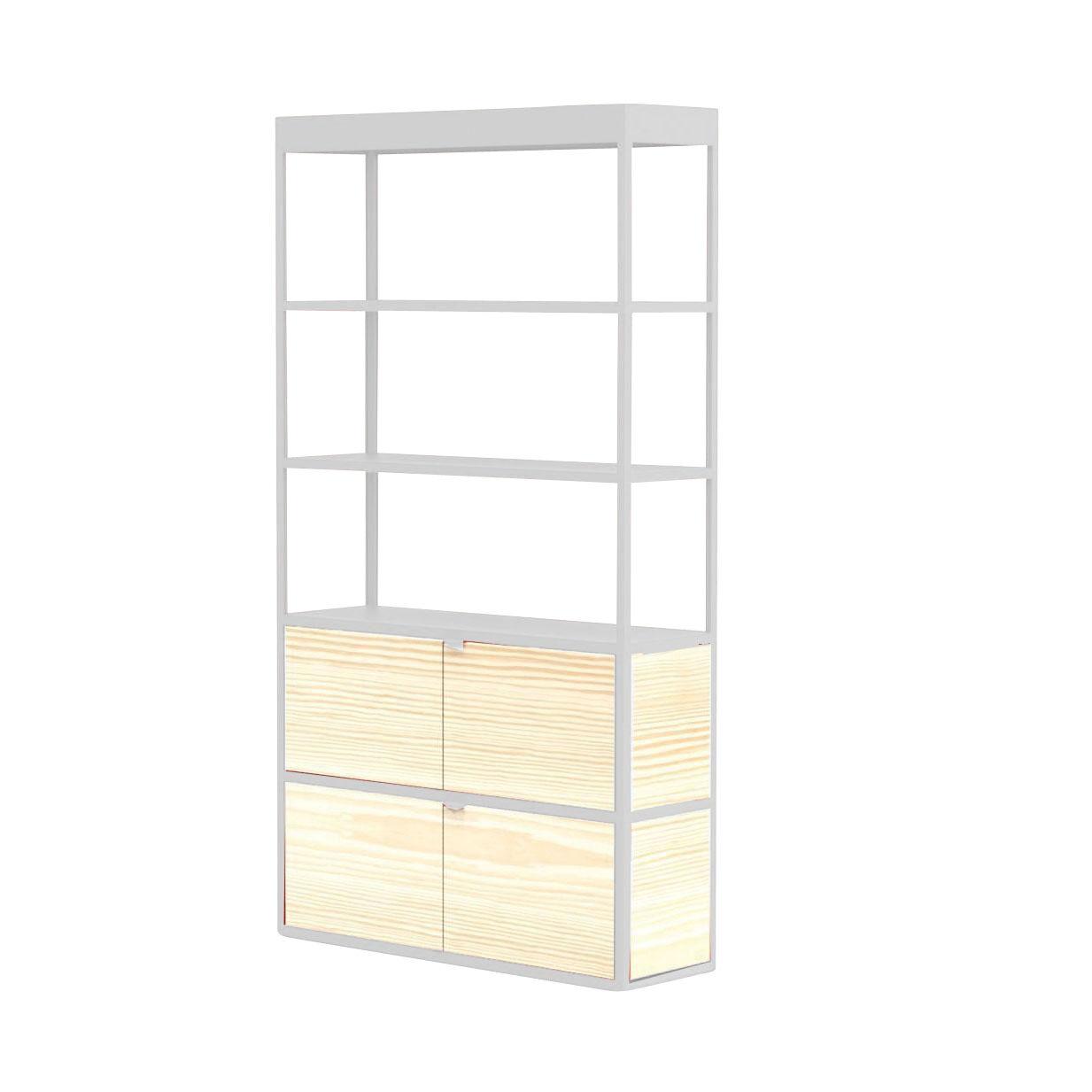 HAY New Order - Etagère/armoire 100x185.5cm - gris clair/frêne/laqué/2 portes en bois/4 parois latérales, 2 parois arrière