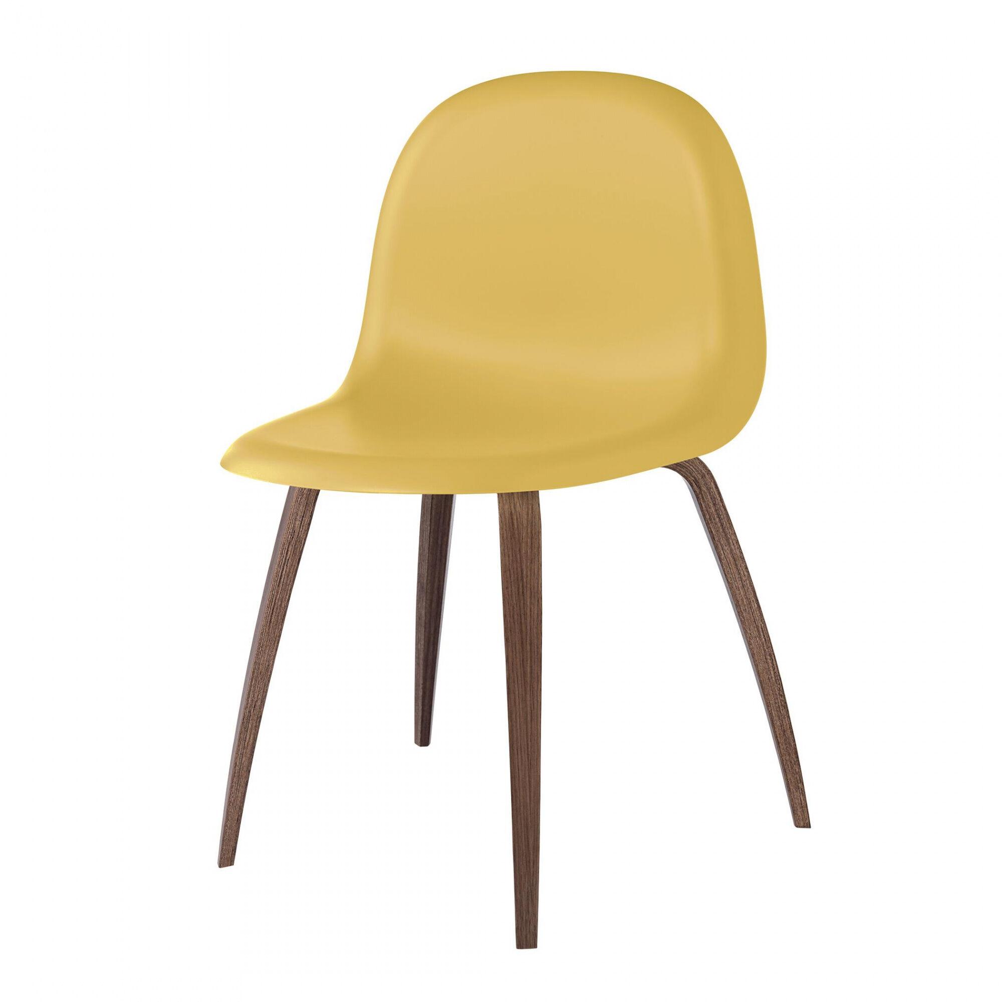 Gubi 3D Dining Chair - Chaise structure en noix - or vénitien/siège HiRek plastique/PxHxP 52x82x53,5cm/patins en plastique/structure noix américain