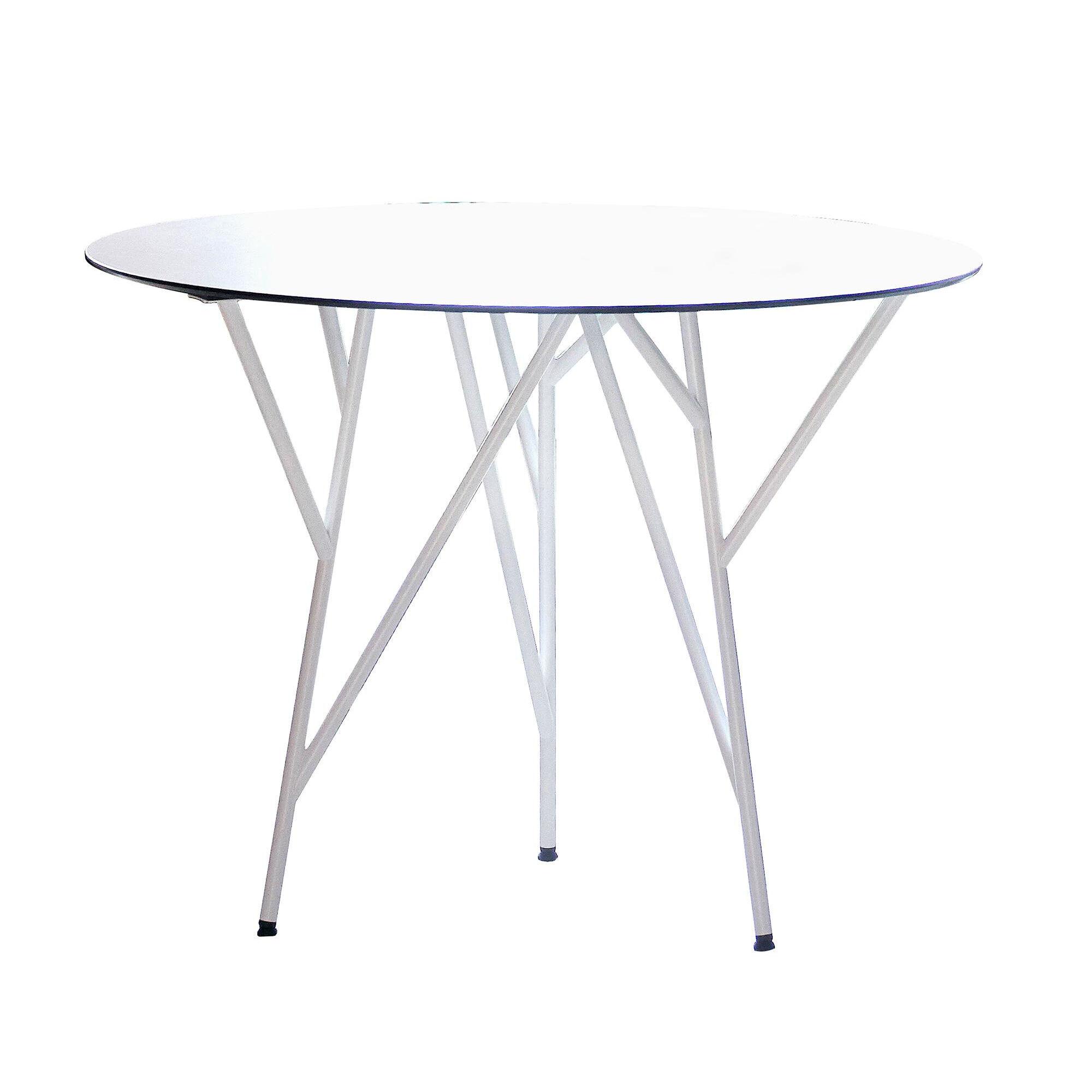 Jan Kurtz Table de jardin Astwerk - blanc/plateau de table HPL/H 75cm, Ø 100cm/structure acier