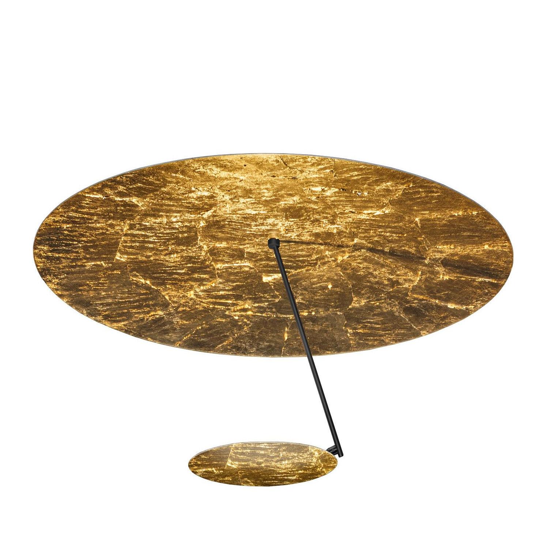 Catellani & Smith Plafonnier LED Lederam C150 - noir/or/base noir H3,5cm x Ø9cm/2700K/1590lm/CRI80/H 26cm/Ø 50cm/barre noir/disque Ø17cm or
