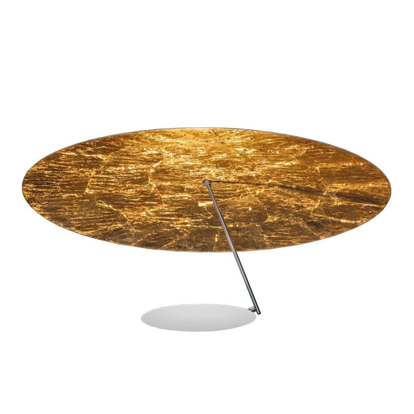Catellani & Smith Plafonnier LED Lederam C180 - blanc/or/base blanc H3,5cm x Ø9cm/2700K/2550lm/CRI80/H 35cm/Ø 80cm/barre satin/disque Ø25cm blanc