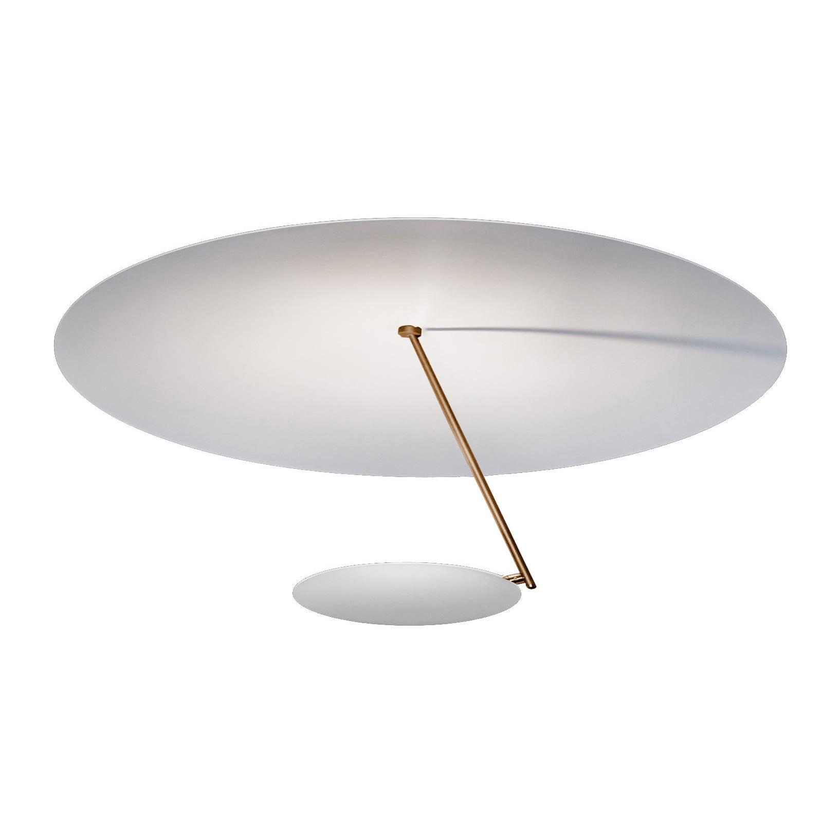 Catellani & Smith Plafonnier LED Lederam C180 - blanc/base blanc H3,5cm x Ø9cm/2700K/2550lm/CRI80/H 35cm/Ø 80cm/barre or/disque Ø25cm blanc