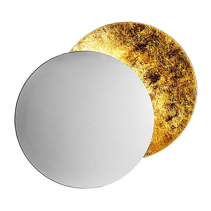 Catellani & Smith Applique murale LED Lederam W 25 - blanc/or/base blanc métal H2,5cm x Ø7cm/profond 9cm/2x disque Ø25cm/2700K/1590lm/CRI80
