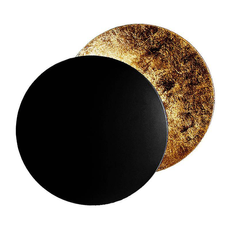 Catellani & Smith Applique murale LED Lederam W 25 - noir/or/base noire métal H2,5cm x Ø7cm/profond 9cm/2x disque Ø25cm/2700K/1590lm/CRI80
