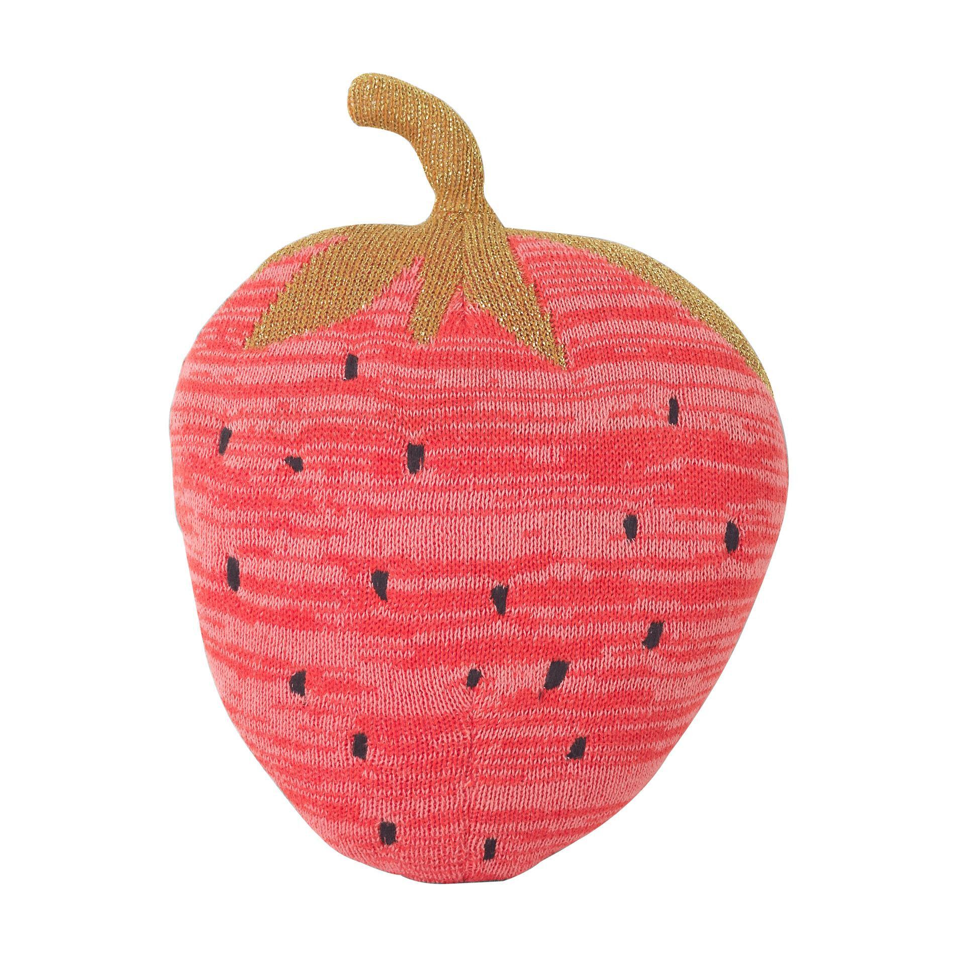 ferm LIVING Oreiller de jeu Fruiticana Fraise - rouge/or/noir/LxP 31x23cm/CE-testé