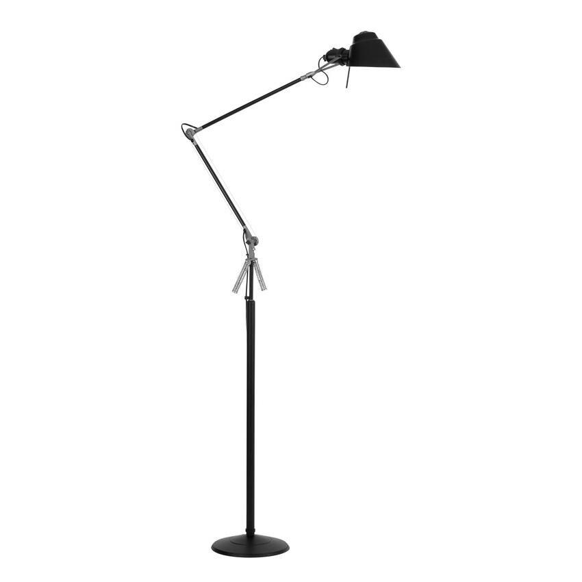 Lumina Lampadaire Tangram - noir soft-touch/abat-jour Ø16cm rotatif 360°/bras pivotant 59,5x39,5cm/base HxØ 94x24cm/interrupteur marche-arrêt