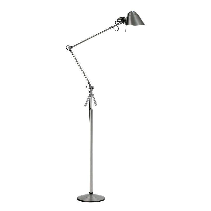 Lumina Lampadaire Tangram - nickel brossé/abat-jour Ø16cm rotatif 360°/bras pivotant 59,5x39,5cm/base HxØ 94x24cm/interrupteur marche-arrêt