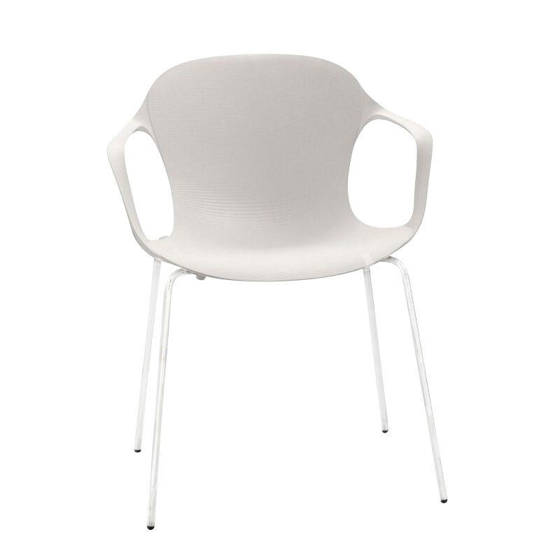 Fritz Hansen Chaise avec accoudoirs Nap™ KS60 - blanc lait/assise nylon/structure revêtu par poudre blanc lait/LxHxP 62x77x51cm