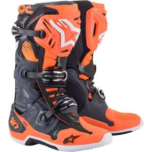 Alpinestars Bottes de cross Alpinestars Tech 10 cool gris orange fluo 2021 - Publicité