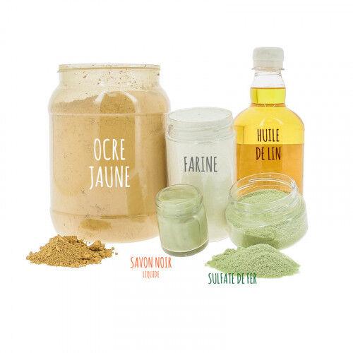 Lubéron Apiculture Kit pour 5 litres de peinture à la farine (ocre jaune ou rouge) - Couleurs - Jaune