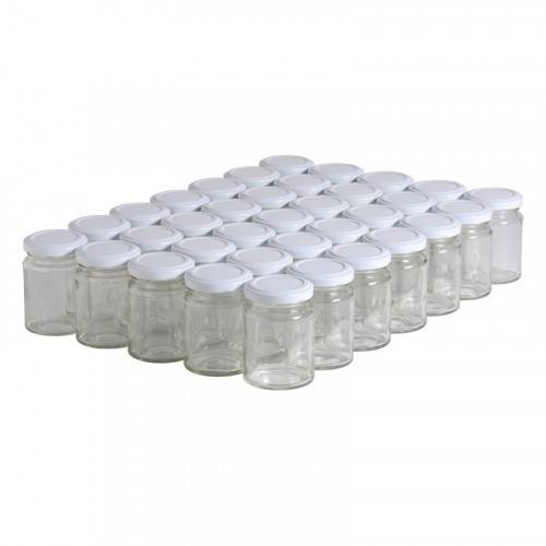Lubéron Apiculture 35 pots verre droits 125g (106 ml) avec couvercle TO 48 - Couvercle - Blanc