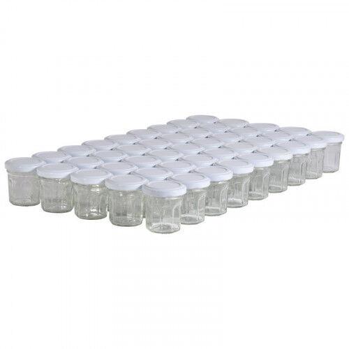 Lubéron Apiculture 45 pots verre facettes 50g (44 ml) avec couvercle TO 48 - Couvercle - Blanc