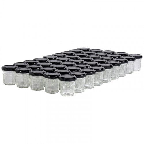 Lubéron Apiculture 45 pots verre facettes 50g (44 ml) avec couvercle TO 48 - Couvercle - Noir