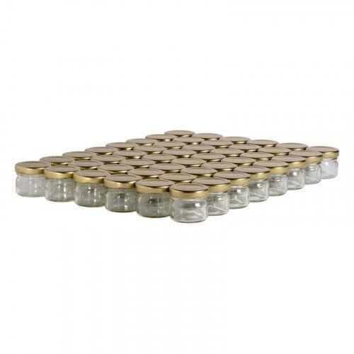 Lubéron Apiculture 48 pots verre 30g (32 ml) avec couvercle TO 43 - Couvercle - Doré