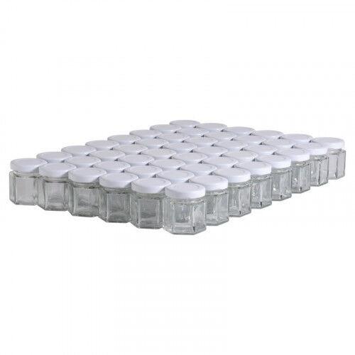 Lubéron Apiculture 48 pots verre hexagonaux 50g (47 ml) avec couvercle TO 43 - Couvercle - Blanc
