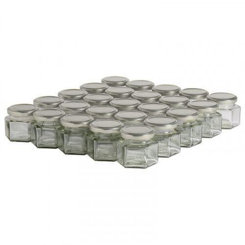 Lubéron Apiculture 35 pots verre hexagonaux 125g (116 ml) avec couvercle TO 48 - Couvercle - Argenté