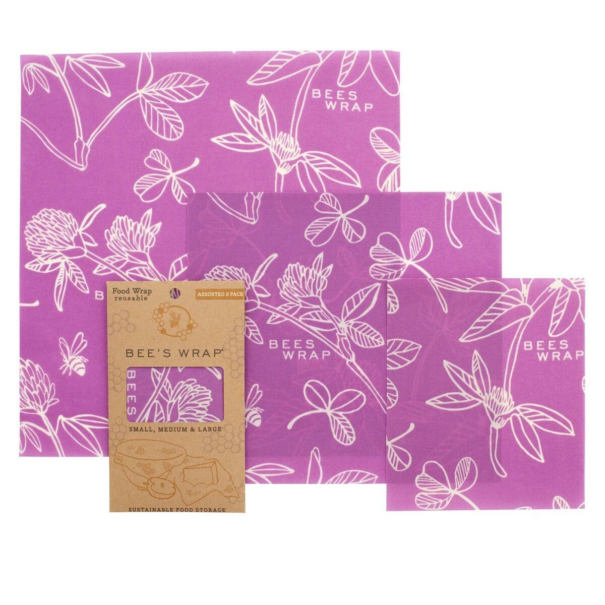 BEE'S WRAP Emballage Alimentaire Cire d'Abeille - Lot de 3 Tailles - Mimi's Purple