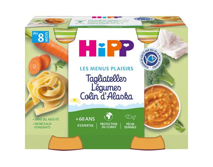 HIPP Les Menus Plaisirs - 2 x 190g Tagliatelles - Légumes - Colin - 8M