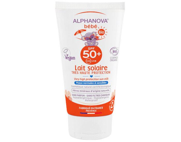 ALPHANOVA Bébé Lait Solaire Bio Très Haute Protection - SPF 50 - 50 ml