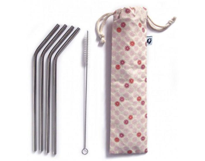 GASPAJOE Set 4 pailles en inox + accessoires