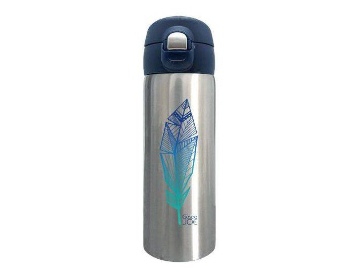 GASPAJOE Gourde en inox collection trendy Plume Bleue - 350 ml