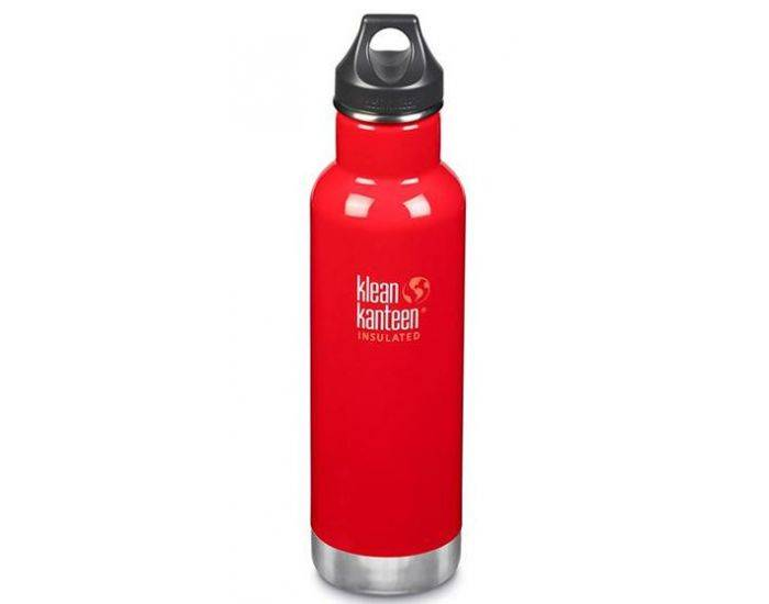 KLEAN KANTEEN Gourde Inox isotherme Mineral Red - Bouchon Classique - 592 ml