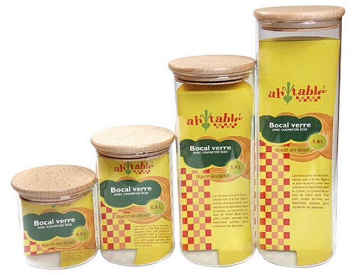 AH TABLE Bocal en Verre avec Couvercle Bois 1,4 L