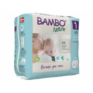 BAMBO NATURE Pack x6 Couches Écologiques Nature T1 / 2-4 kg kg / 6 x 28 couches