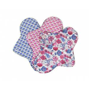 MELO'COTON Lot de 3 serviettes Hygiéniques Lavables - Flux Abdondants Fleur rose