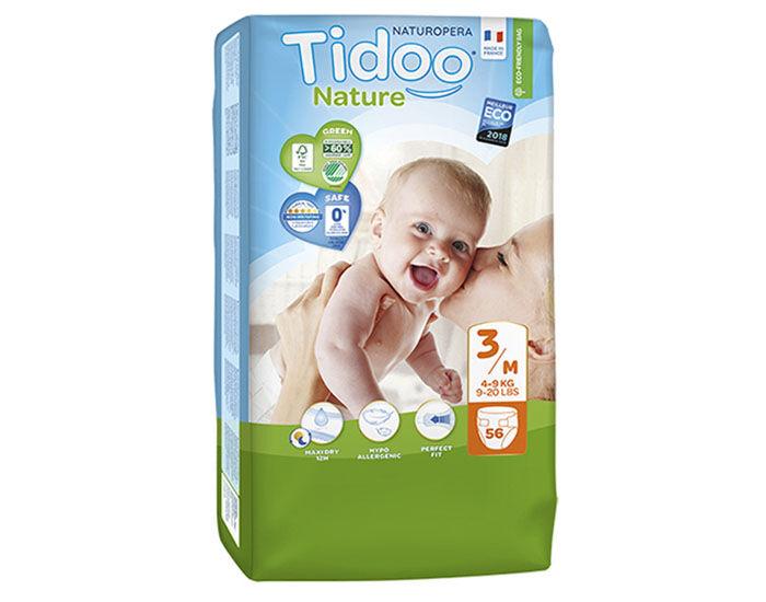 TIDOO Couches Écologiques Nature - Pack Économique  T3 / 4-9 kg / 56 couches