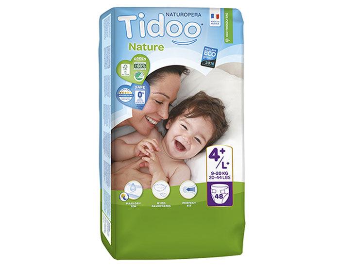 TIDOO Couches Écologiques Nature - Pack Économique  T4+ / 9-20 kg / 48 couches