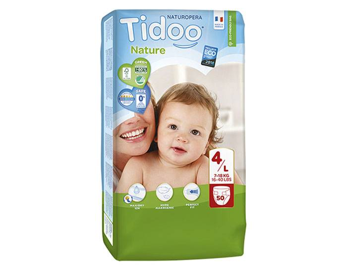 TIDOO Pack Économique x3 Couches Écologiques Nature T4 / 7-18 kg / 3x50 couches