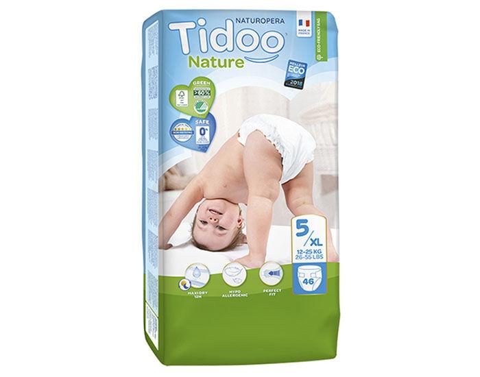 TIDOO Pack Économique x3 Couches Écologiques Nature T5 / 12-25 kg / 3x46 couches