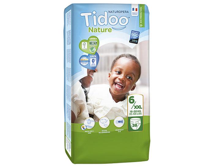 TIDOO Pack Économique x3 Couches Écologiques Nature T6 / 16-30 kg / 3x38 couches