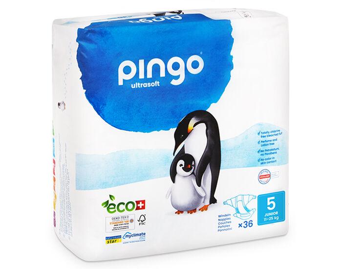 PINGO Pack x2 Couches Écologiques Ultra Soft T5 / 11- 25 Kg / 2 x 36 couches