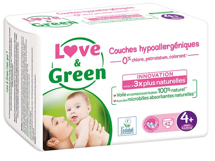 Love and Green Couches Écologiques 0% T4+ / 9-20 Kg / 42 couches
